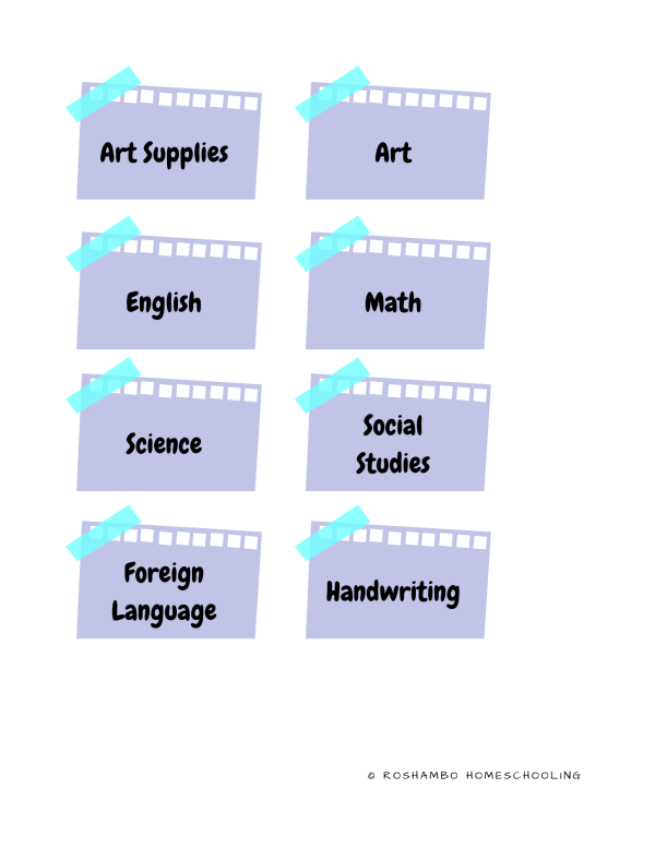RoShamBo Homeschooling printable homeschool room labels sticky note
