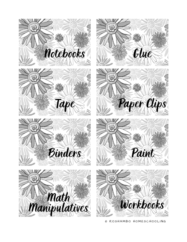 RoShamBo Homeschooling printable homeschool room labels black and white floral