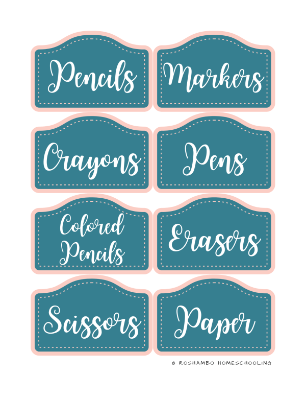 RoShamBo Homeschooling printable homeschool room labels glam blue and pink
