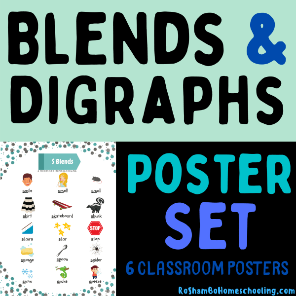 RoShamBo Homeschooling blends and digraphs poster set promo