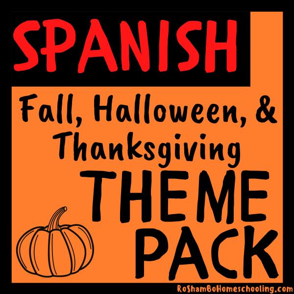 RoShamBo Homeschooling fall, halloween, and thanksgiving theme pack in Spanish