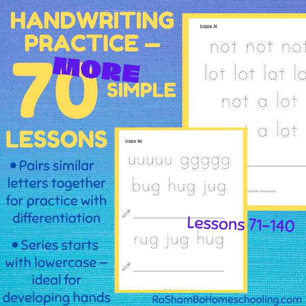 RoShamBo Homeschooling printable handwriting practice pack set 2 lowercase letters 70 lessons