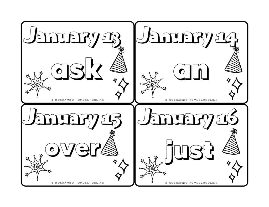 hight resolution of Sight Word of the Day Color Calendar — 1st Grade   RoShamBo Homeschooling