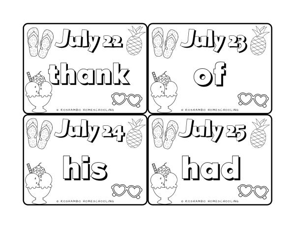 RoShamBo Homeschooling sight word of the day color calendar for 1st grade sample