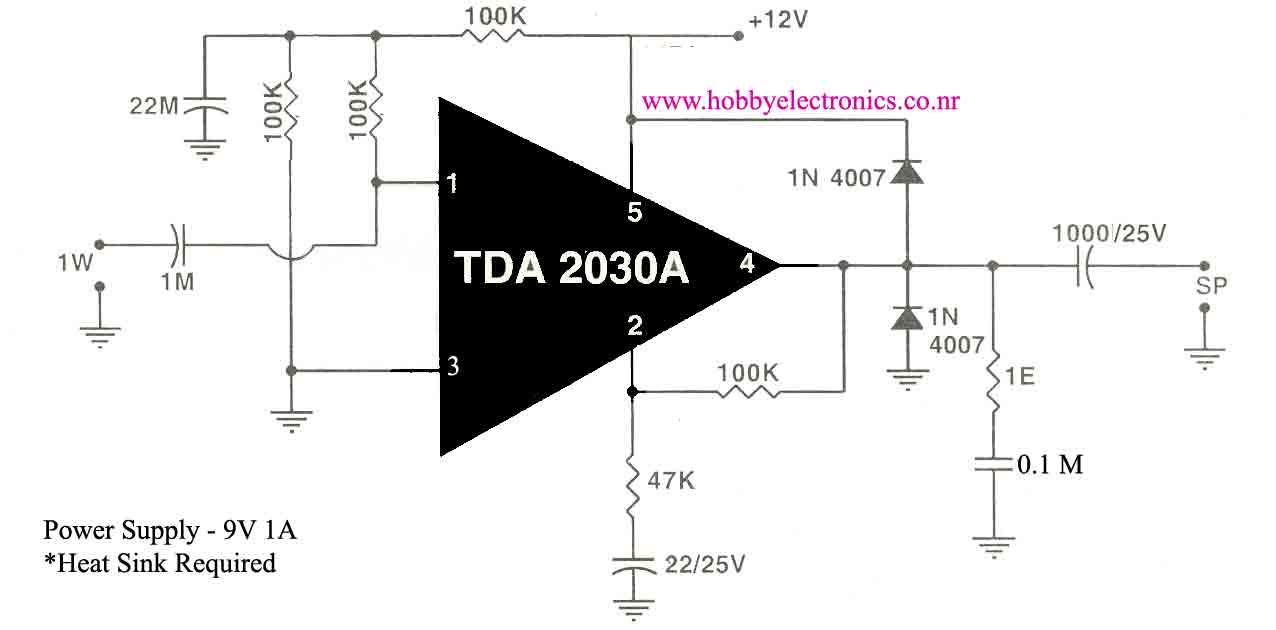HobbyElectronics.co.nr-Audio Amplifier Using TDA2030