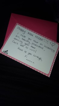 Cute note from Fi!
