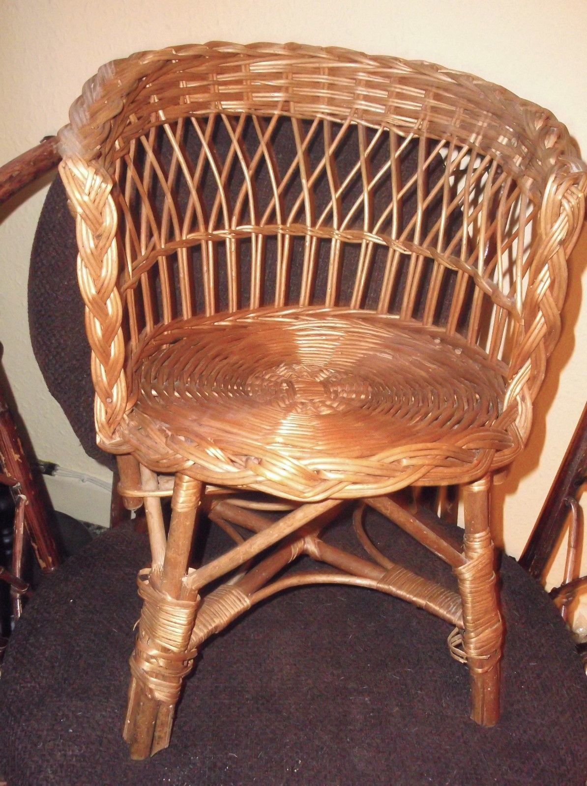 Vintage Rattan Chair Vintage Wicker Woven Rattan Chair Child Or Display For Dolls Teddy Bears