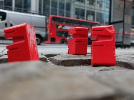 my red figures made from resin in London on a outing