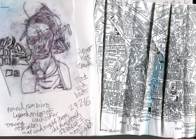 5. map of Brighton Photocopied with myself tacred drawn over the page on the other side. With a traced drawing of me layered up with map shapes on top.