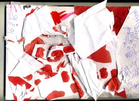 5 Photocopies of my figure shape outlines ripped up showing mess chaos distruction of the red whioch Ilove turning it into a bad thing I guess.