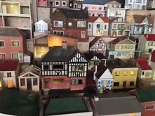 A close up of some the Dolls Houses showing the light