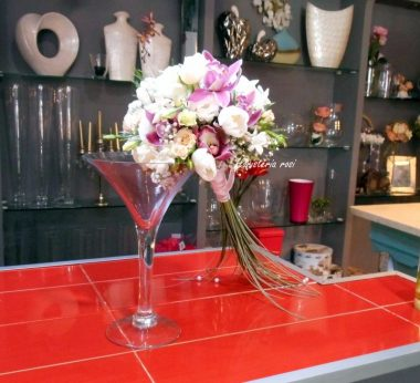Bouquet romantico de rosas y orquideas