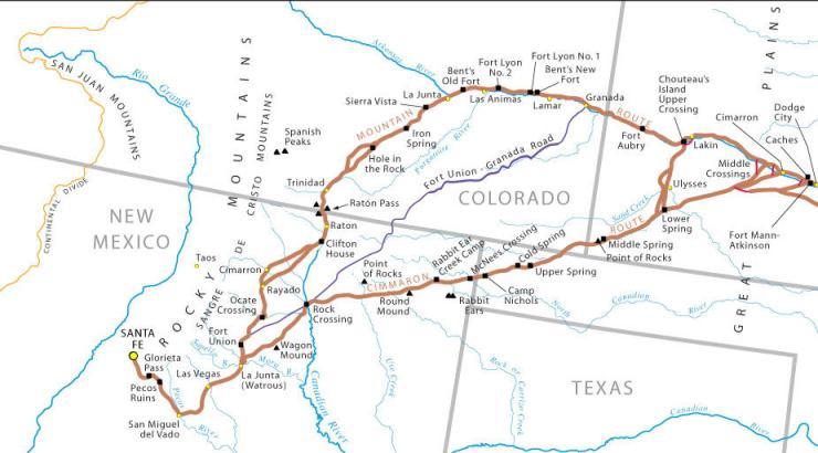 map, Santa Fe trail