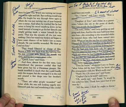 Harry Ransom Center, Austin, Texas Annotated pages from David Foster Wallace's copy of C. S. Lewis's The Lion, the Witch, and the Wardrobe