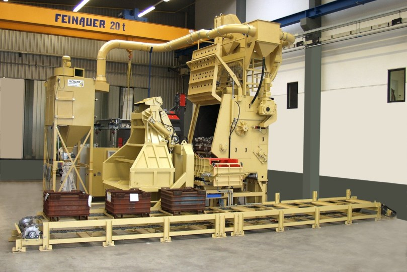 Rosler Automated RMBC 8.2 Tumble Belt Blast System with parts loading and unloading
