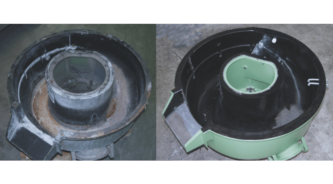 Vibratory bowl before and after relining by Rosler