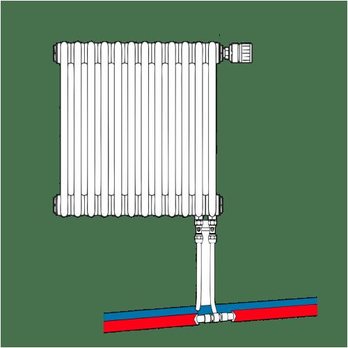 Подключение радиатора Т трубкой из пола