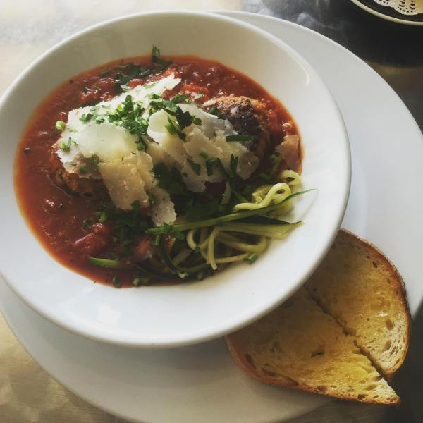 House-made meatballs with zucchini pasta