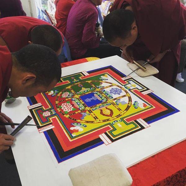 Gyuto Monks of Tibet completing a 13 Deity Yamantaka Sand Mandala