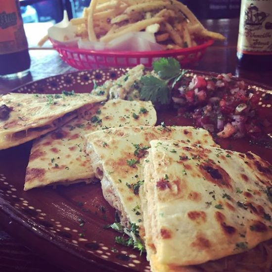 Chicken Quesadilla and Garlic Parmesan Fries