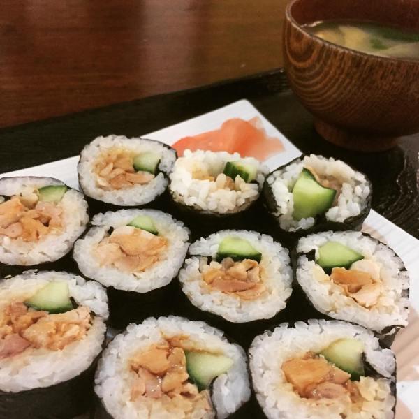 Teriyaki Chicken sushi and miso soup