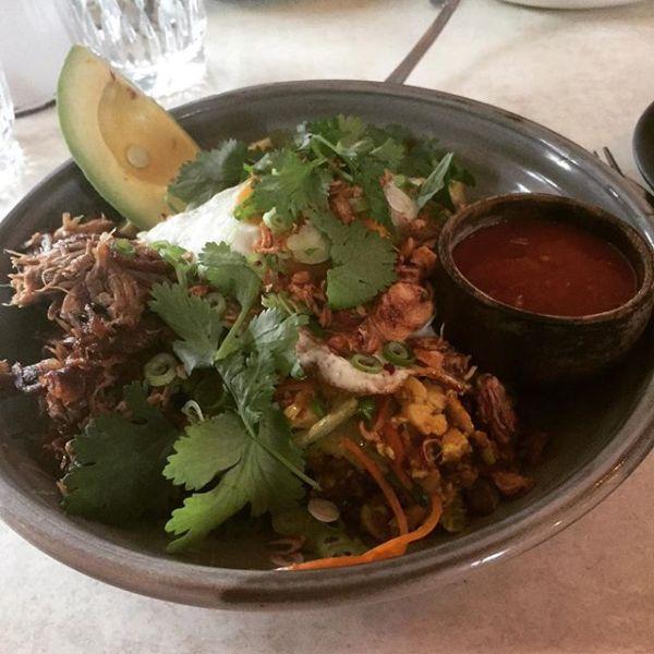 Nasi goreng with avocado & pulled lamb