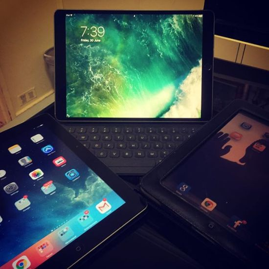 Three generations of active iPads... 2010, 2012 & 2017...