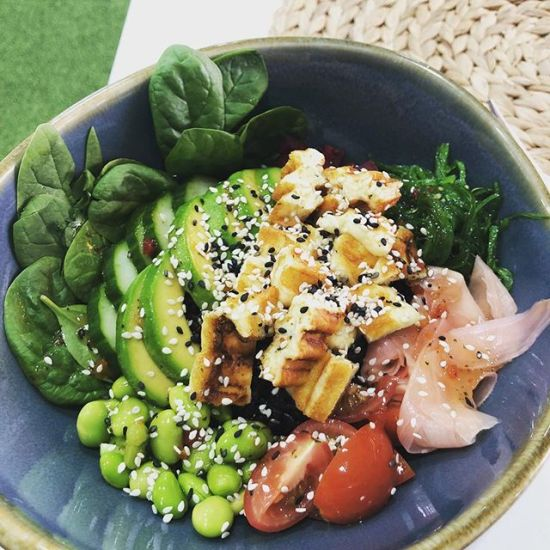 Grilled Haloumi Bowl with Avocado @wia_cafe