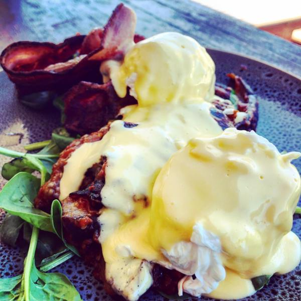 Eggs Benedict w/ Eggplant & sub bread for bacon 🥓