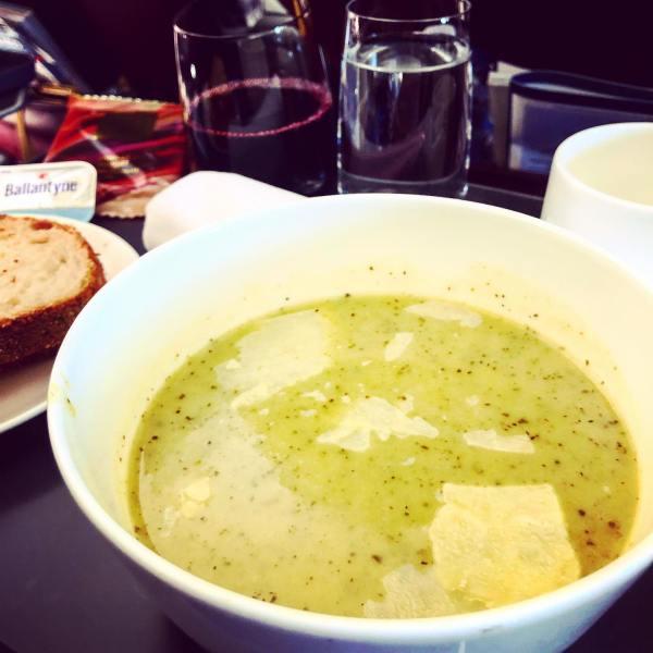 Zucchini & Parmesan Soup,  sourdough & a glass of Barossa Valley Shiraz, with 54% Dark Chocolate Vanilla Nougat for dessert