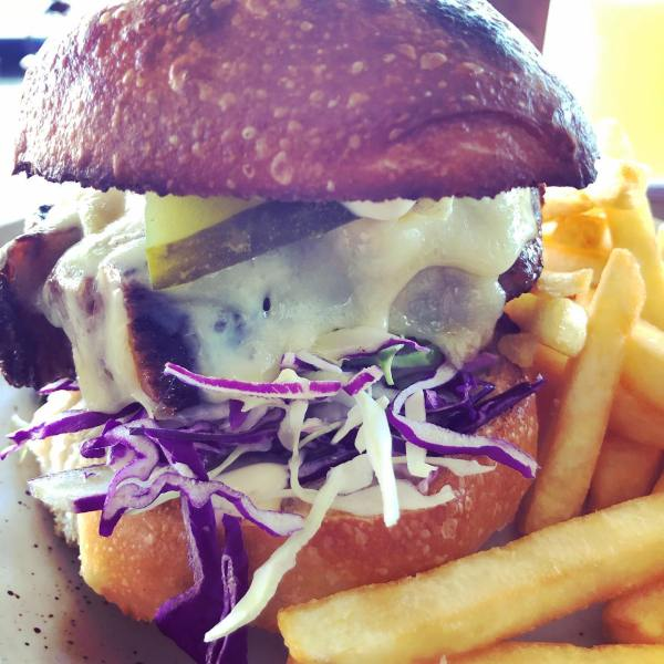 Beef brisket burger, blue & cheddar cheese, slaw, pickles & aioli