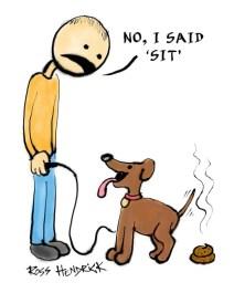 no i said sit shit dog cartoon