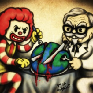 evil ronald mcdonald vs colonel sanders 1920s 1930s cartoon