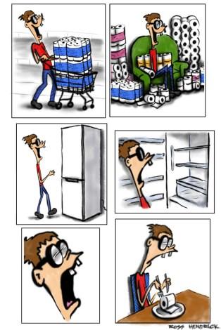 toilet paper panic buy coronavirus cartoon