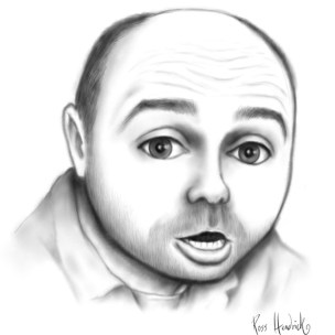 karl pilkington caricature cartoon round head orange