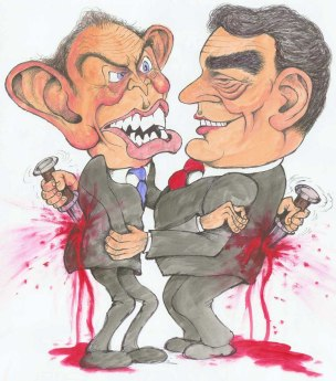 tony blair gordon brown caricature labour cartoon