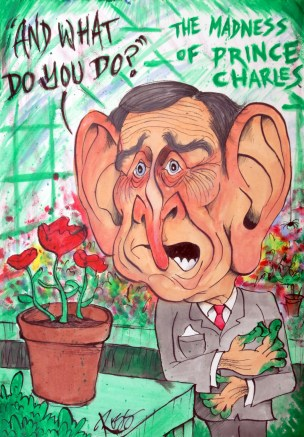 prince charles caricature talking to plants