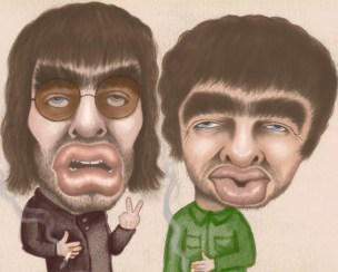 oasis caricature gallagher brothers
