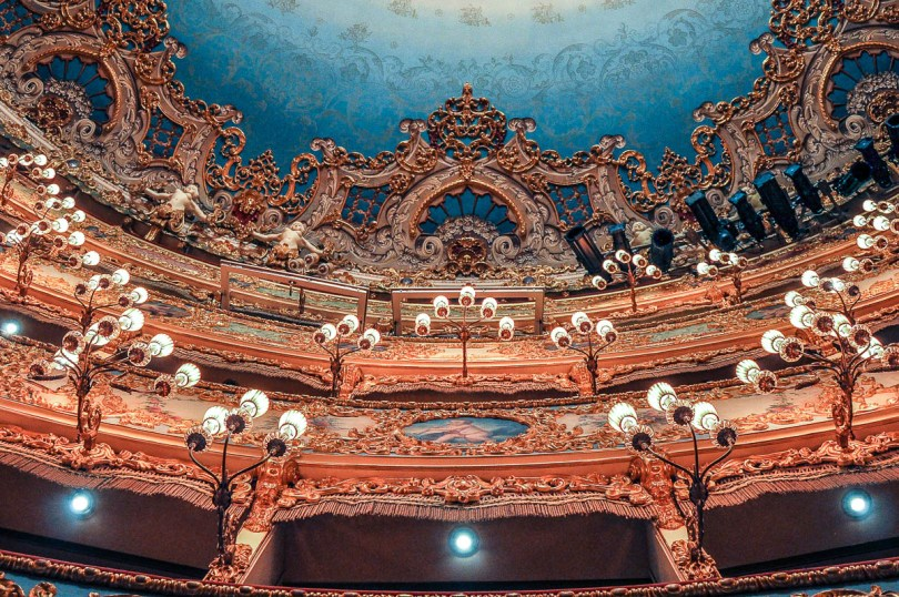 A close-up of the lights and the ornamentation of the boxes - La Fenice Opera House in Venice, Italy - www.rossiwrites.com