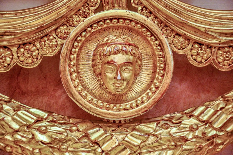Close-up of the backrest of a bench - La Fenice Opera House in Venice, Italy - www.rossiwrites.com