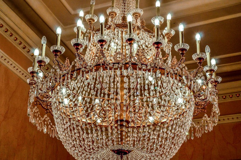 Crystal chandelier - La Fenice Opera House in Venice, Italy - www.rossiwrites.com