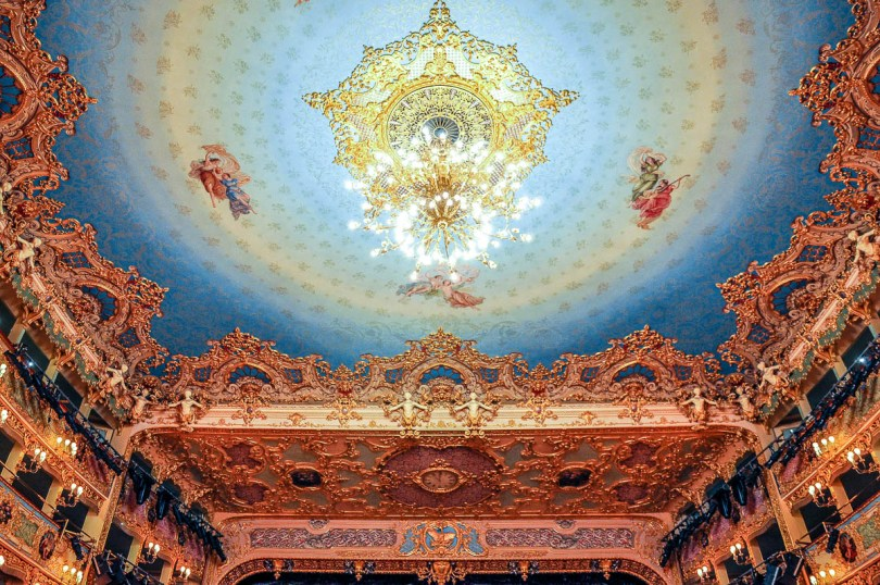 The ceiling - La Fenice Opera House in Venice, Italy - www.rossiwrites.com