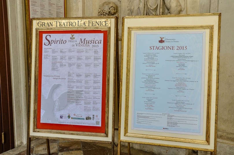 The programme - La Fenice Opera House in Venice, Italy - www.rossiwrites.com