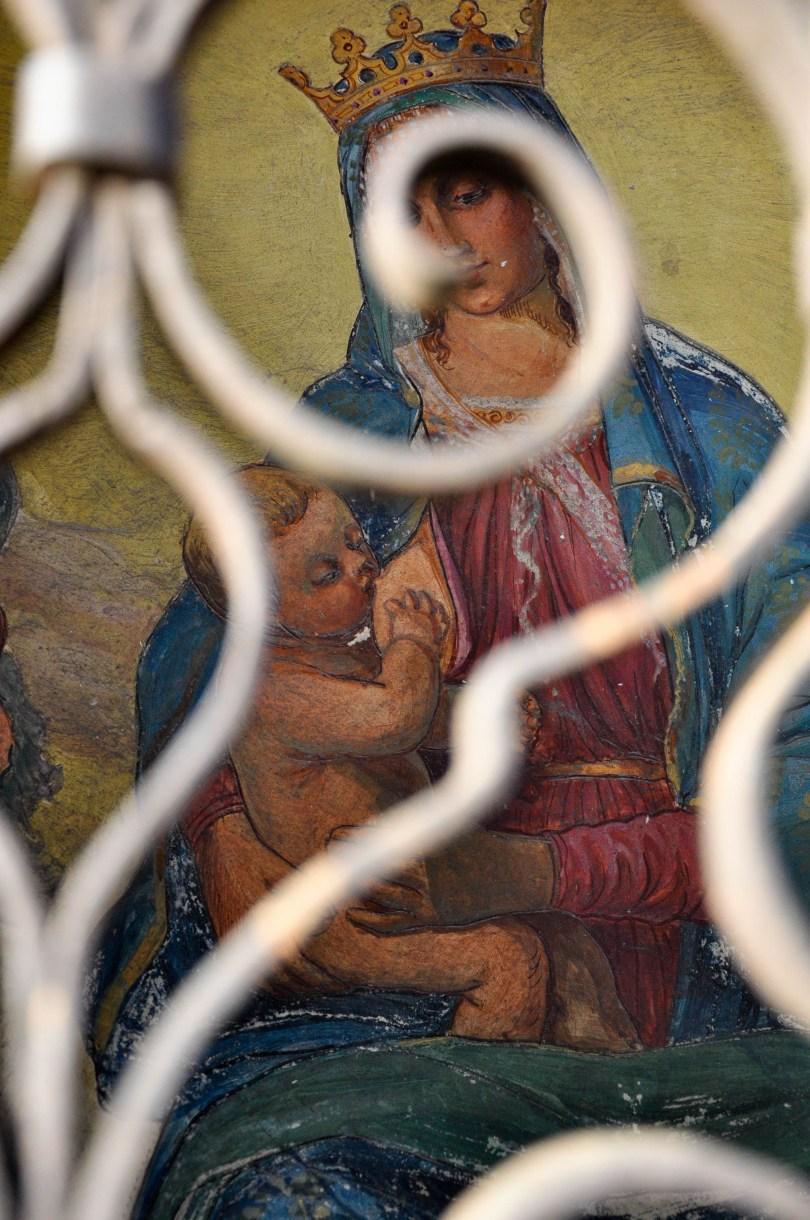Nursing Madonna, Wall fresco, Sanctuary, Bardolino, Lake Garda, Italy