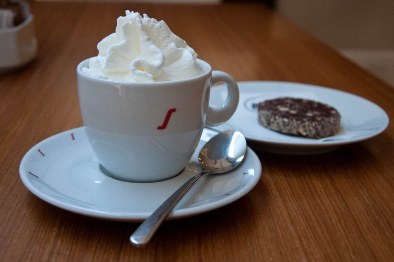 Coffee with whipped cream and chocolate salami, La Triestina Coffee House, Vicenza, Italy - rossiwrites.com