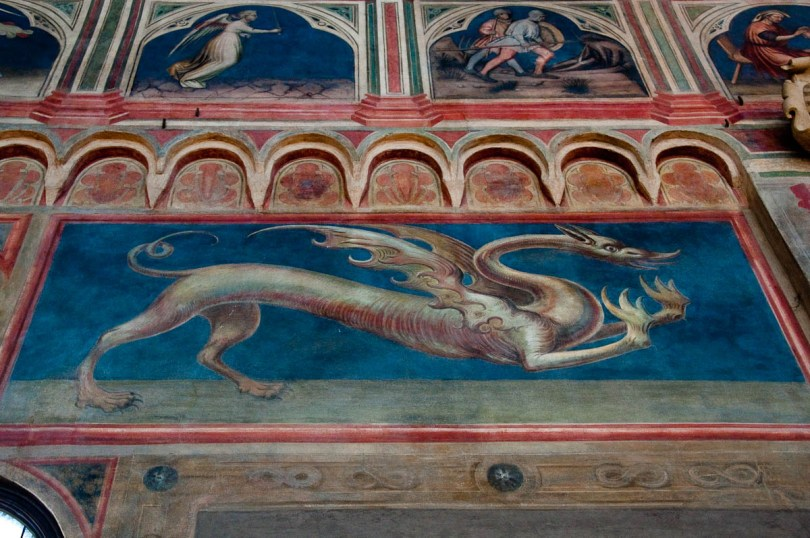 Frescoed dragon, Great hall of Palazzo della Ragione , Padua, Italy - www.rossiwrites.com