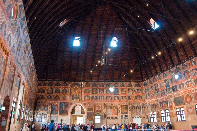 Inside the Great hall of Palazzo della Ragione , Padua, Italy - www.rossiwrites.com