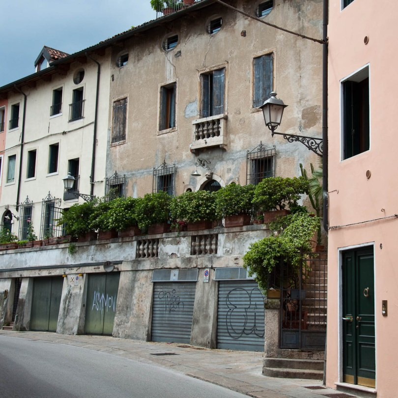 Potted plants used to create a living barrier, Vicenza, Italy