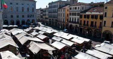 The Marketplace seen from Palazzo della Raggione, Piazza delle Erbe, Padua, Italy - www.rossiwrites.com
