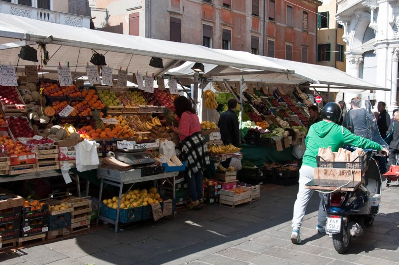 Vespa with bags with vegetables, The Marketplace, Piazza delle Erbe, Padua, Italy - www.rossiwrites.com